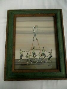 SIGNED-ROGERS-TURNER-WATERCOLOR-PAINTING-034-ROUNDEL-WITH-STILT-DANCER-034