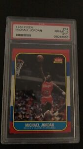 💥💣1986 Fleer Basketball - Michael Jordan ROOKIE RC - #57 PSA 8 NM-MT💣💥