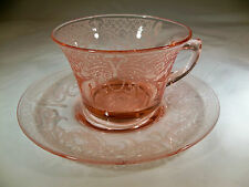 CAMBRIDGE BYZANTINE ETCH #520 PEACH BLO PINK #933 CUP & SAUCER SET!