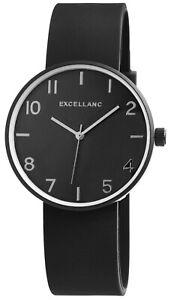 Excellanc-Herrenuhr-Schwarz-Analog-Metall-Silikon-Quarz-Armbanduhr-X2500000001