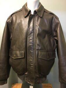 7f9833de9f9 Details about Vtg 40s WWII A-2 Style LL Bean Leather Pilots Flight Jacket  Mens L Bomber Coat