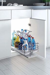Under Sink Cabinet Organizer Shelf Pull Roll Out Soft Stop Closing