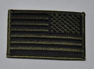 AUFNÄHER PATCH AUFBÜGLER FLAGGE USA VEREINIGTE STAATEN v. AMERIKA OLIV rechts