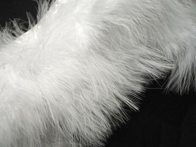 F461 PER FEET- White Turkey Marabou Hackle Fluffy Feather Fringe Trim Craft