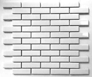Image Is Loading 1x3 White Glossy Brick Porcelain Mosaic Tile Wall