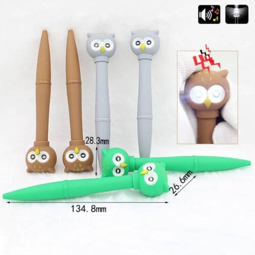 Cartoon Owl LED Light Vocal School Office Kid Stationery Black Ink Ballpoint Pen