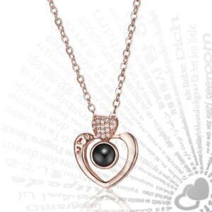 bd55900a0 New Women Jewelry 100 languages I love you Projection Pendant ...