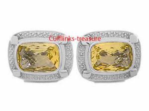 Solid 925 Sterling Silver Natural Gemstone Citrine Cufflink For Men,Fine Citrine Gemstone Jewelry,Sterling Silver Citrine Men Cufflink India