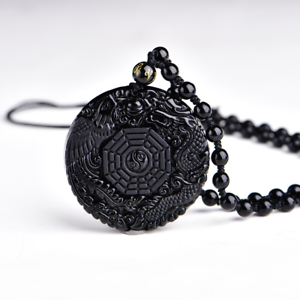 Naturel Noir Obsidienne Hand Carved Dragon Head Lucky Amulette Collier Pendentif