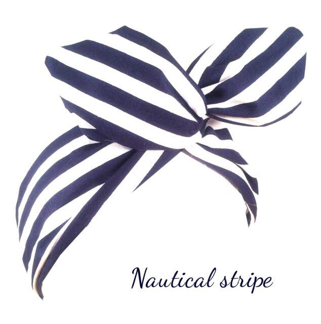 Navy Blue And White Stripe Nautical Wired Headband