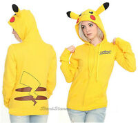 Pokemon Go Pikachu Ears Tail Yellow Zip Hoodie Hoody Anime Cosplay Nintendo