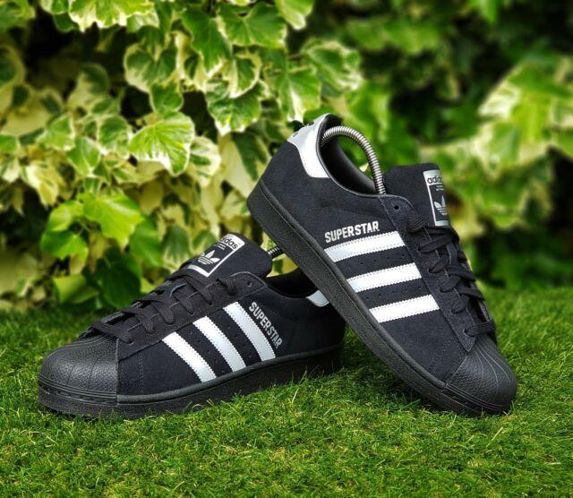 BNWB & AUTHENTIQUE Adidas Originals ® Superstar en Daim Noir Baskets Taille UK 9.5
