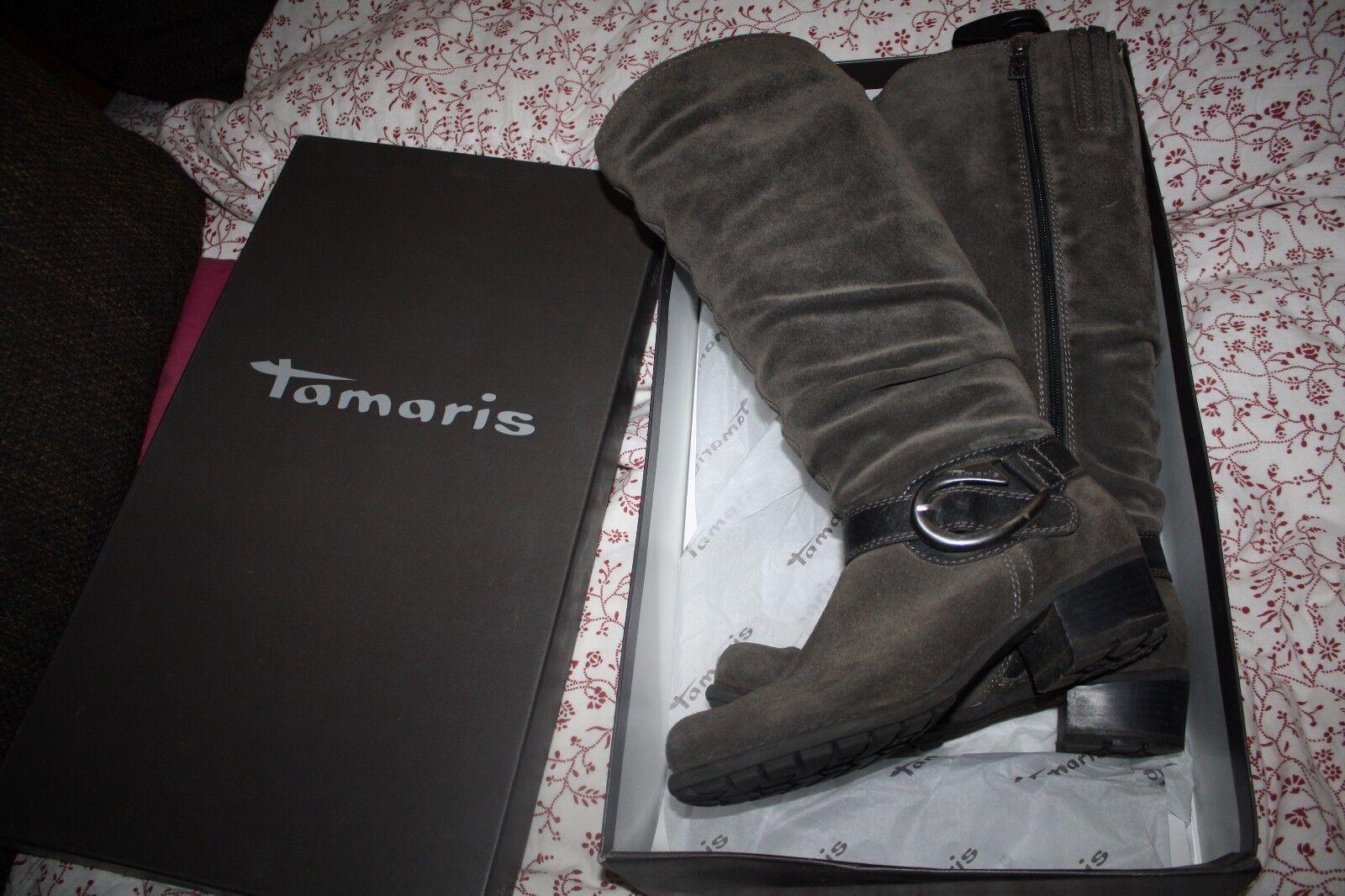 Tamaris Wildeder Stiefel 39 grau Boots Blogger Biker Bottes Schlupfstiefel
