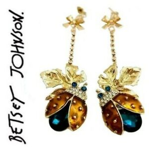 US-Seller-Betsey-Johnson-Crystal-Ladtbug-Dangle-Earrings-Fashion-Jewelry