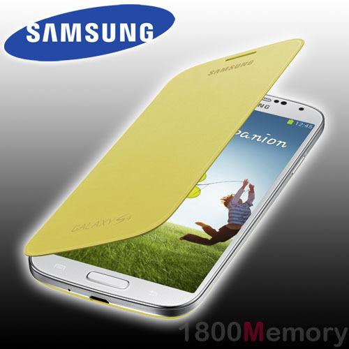 GENUINE Samsung Galaxy S4 Flip Cover Case GT-i9500 i9505 i9506 i9507 9508 Yellow