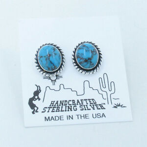 925-Sterling-Silver-Natural-Spider-Web-Kingman-Turquoise-Stud-Post-Oval-Earrings