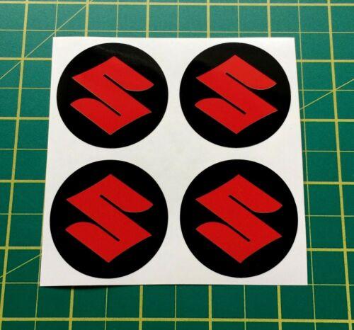 4 x 55mm adesivi CERCHI IN LEGA ROSSO Fit Suzuki centro BADGE Trim CAP HUB