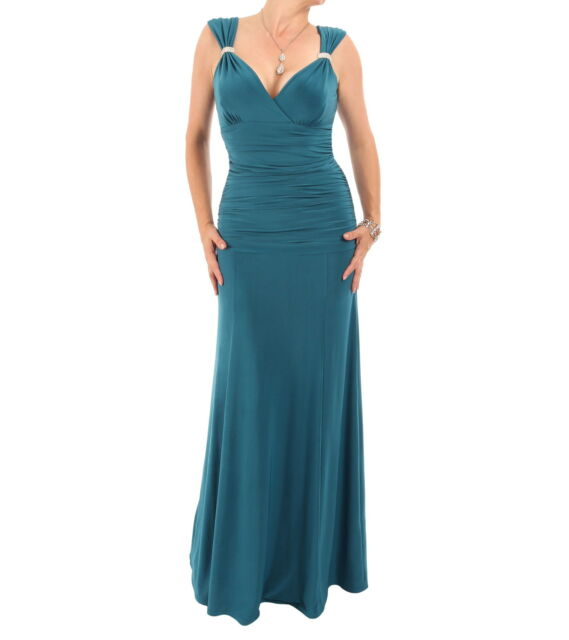 Just Blue - New Crystal Diamante Maxi Dress - V Neck