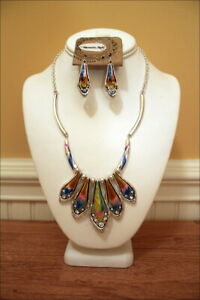 Colorful-Enameled-Crystals-Shiny-Silver-Metal-Cowgirl-Gypsy-Necklace-Set