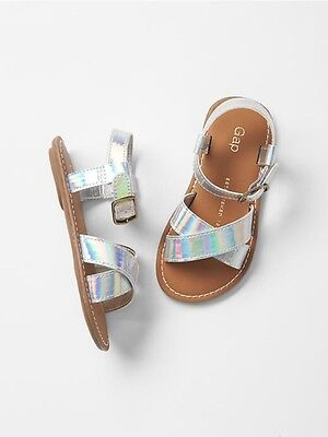 GAP Baby Toddler Girl Size US 10 EU 27 Silver Cross-Strap Sandals Flats Shoes
