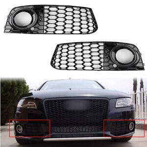 2x-Rs4-Style-Honeycomb-Mesh-Fog-Light-Grille-de-calandre-Pour-09-12-Audi-A4-B8
