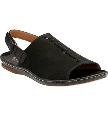 Clarks Artisan Women's Sarla Forte Peep Toe Flat Sandals Black, Pick A Size | eBay