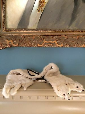 Antique Ermine Fur Double Stole Scarf Silk Lined Ivory Silver Clip Quality Swede