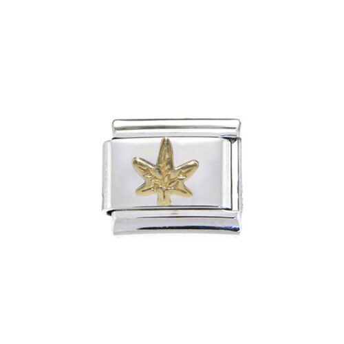 Marihuana leaf oro encanto italiano-se adapta a 9mm clásico italiano pulseras
