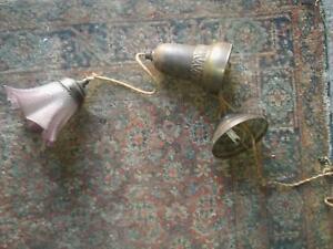 Art-Deco-Haenge-Lampe-Glasschirm-hoehenverstellbar-um-1930