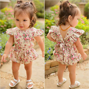 33c7fceae913 Cute Newborn Infant Baby Girl Floral Romper Jumpsuit Bodysuit ...