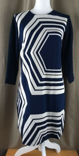 Piccola Blue Taylor Classic Taglia Navy Print Shift Ann Dress White Geo qv6Eqdw