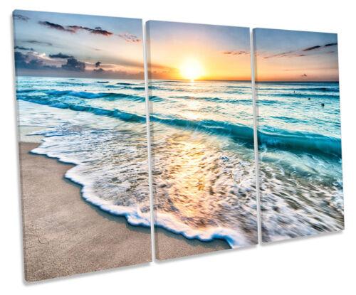 Beach sunset seascape treble toile murale art box encadrée imprimer