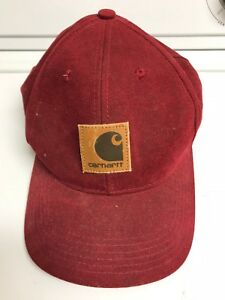 Image is loading Vintage-Carhartt-Maroon-SnapBack-Hat-Cap-Leather-Patch- 44afd0cbb1e