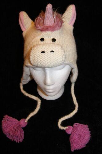 UNICORN HAT knit white horse SKI CAP animal costume ADULT pink mohawk FLC LINING