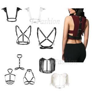 Women-Sexy-Leather-Body-Chest-Harness-Belt-Gothic-Bustiers-Tops-Costume-Clubwear