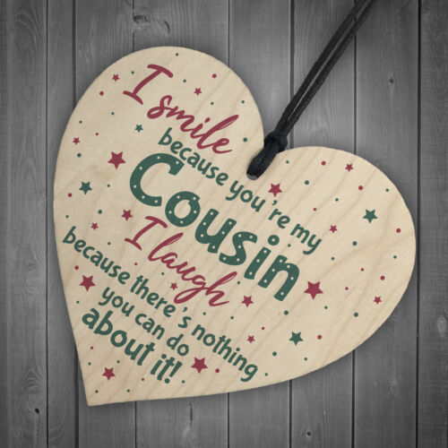 Novelty Cousin Family Friend Gift Wooden Heart Thank You Keepsake Christmas Gift