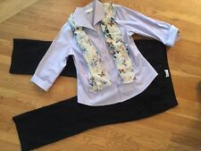 Women's 3 Pc Outfit: Lg Top; 14Long Pants; NWOT Scarf.