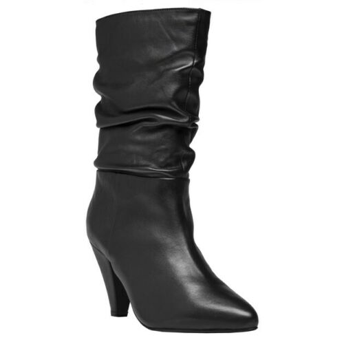 New Womens SOLE Black Quinn Leather Boots Mid Heels Pull On