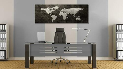 Weltkarte Leinwandbild AK Art Bilder Schwarz-Weiß Wandbild Kunstdruck Panorma