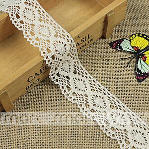2 Yards Bleach Vintage Pure Cotton Crochet Lace Trim Ribbon Sewing