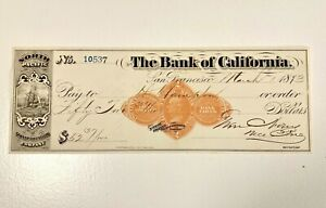 Rare 1873 San Francisco Bank of California North Pacific Transportation Co, Ship