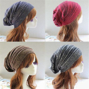 04d58c5fdd8 NEW Womens Mens Knit Baggy Beanie Hat Winter Warm Oversized Ski Cap ...