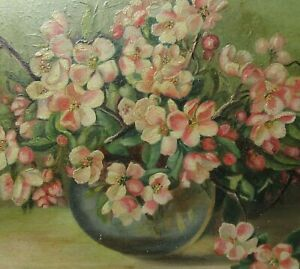 ANTIQUE FOLK ART OIL PAINTING FLORAL STILL LIFE COUNTRY PRIMITIVE