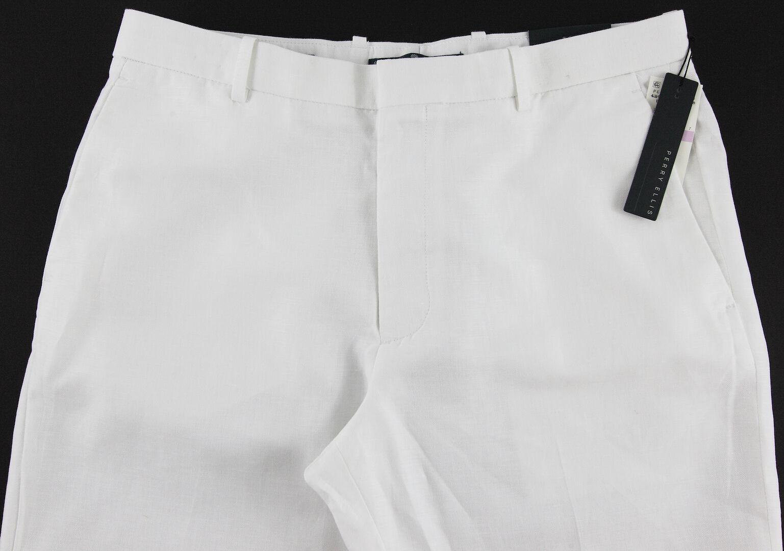 Men's PERRY ELLIS White Casual Dress Linen Cotton Pants 30x30 30 NWT NEW Wow