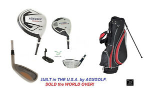 AGXGOLF-2-INCH-TALL-MENS-EXEC-GOLF-CLUB-SET-DRIVER-WOODS-IRONS-STAND-BAG-PUTTER