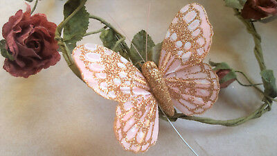 Feather Butterfly White with Glitter 7.0cm