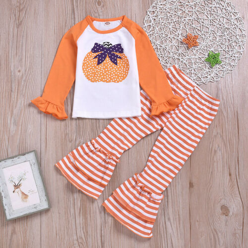 Toddler Kids Baby Girls Striped Pumpkin Outfits Clothes T-shirt Tops+Long Pants