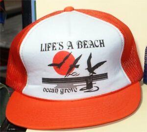 2033743a4a791e Vintage 80S ORANGE LIFES A BEACH OCEAN GROVE NWOT Hat Cap one Size ...