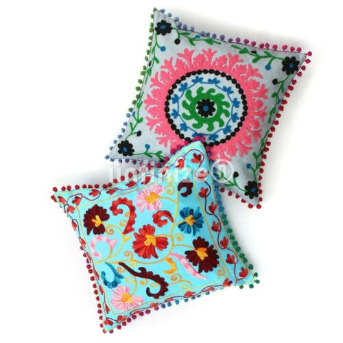 2 PC Indian Suzani Cushion Cover Embroidered Pillow Sham Floral Sofa Sham Hippie