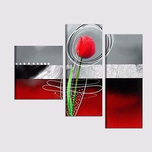 Dettagli Su Quadri Moderni Con Fiori Dipinti A Mano Grigio Rosso Quadro Moderno